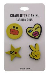 96 Units of Fashion Pin Set - Tattoos and Stickers