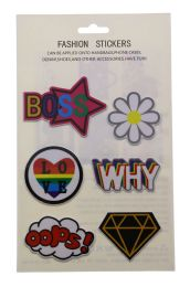 96 Units of Fashion Puff Stickers Boss Flower Why Heart Oops And Jewel - Tattoos and Stickers