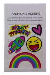 96 Units of Fashion Puff Stickers Fast Women Heart Rocket Smiley And Rainbow - Tattoos and Stickers