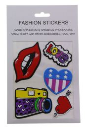 96 Units of Fashion Puff Stickers Lips Love Hearts And Camera - Tattoos and Stickers