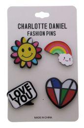 96 Units of Rainbow Color Pin Assortment - Hat Pins & Jacket Pins