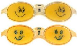 96 Units of Childrens Goldtone Hair Barrette With Smiley Face - Hair Scrunchies