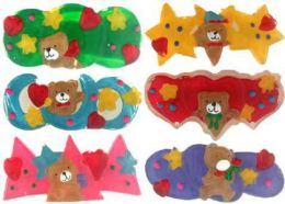 96 Units of Childrens Assorted Color Acrylic Hair Barrette With Teddy Bear Print - Hair Scrunchies