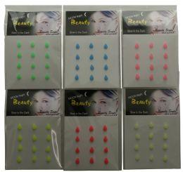 96 Units of Glow In The Dark Teardrop Body Jewels - Body Jewelry