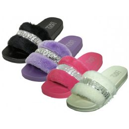 36 Units of Women's Faux Fur Upper With Rhinestone Top Slide Sandals - Women's Slippers