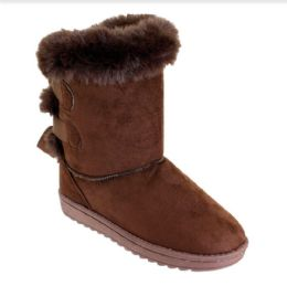 12 Units of Women Fashion Micro Suede Boots In Brown - Women's Boots