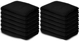 12 Units of Yacht & Smith 50x60 Warm Fleece Blanket, Soft Warm Compact Travel Blanket Solid Black - Fleece & Sherpa Blankets