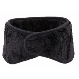 72 Units of Winter Ear Warmer With Faux Fur Lining In Black - Ear Warmers