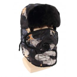 24 Units of Winter Trapper Hat With Fur Camoflauge - Trapper Hats
