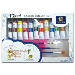 24 Units of Fabric Color Set - Paint, Brushes & Finger Paint