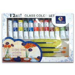 24 Units of Glass Color Set - Paint, Brushes & Finger Paint