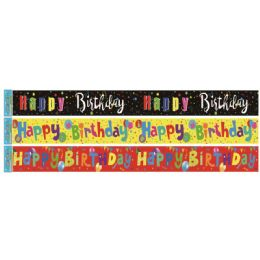 96 Units of Birthday Foil Banner In Yellow - Party Banners