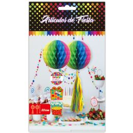 96 Units of 1 Count Honeycomb Rainbow Color - Hanging Decorations & Cut Out
