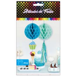 96 Units of 1 Count Honeycomb In Blue - Hanging Decorations & Cut Out