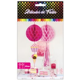 60 Units of 2 Count Honeycomb In Pink - Hanging Decorations & Cut Out