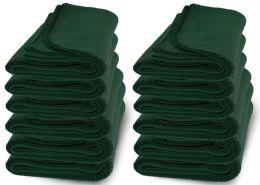 12 Units of Yacht & Smith 50x60 Warm Fleece Blanket, Soft Warm Compact Travel Blanket Solid Hunter Green - Fleece & Sherpa Blankets
