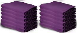12 Units of Yacht & Smith 50x60 Warm Fleece Blanket, Soft Warm Compact Travel Blanket Solid Purple - Fleece & Sherpa Blankets