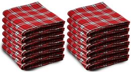 12 Units of Yacht & Smith 50x60 Warm Fleece Blanket, Soft Warm Compact Travel Blanket Red Plaid - Fleece & Sherpa Blankets