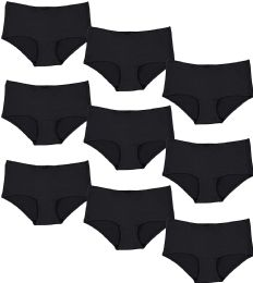9 Units of Yacht & Smith Womens Black Cotton Underwear Panty Briefs in Bulk, 95% Cotton Soft Panties - SIZE L - Womens Panties & Underwear