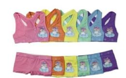 36 Units of Girl's Seamless Racer Back Bra + Boxer Set - Girls Underwear and Pajamas