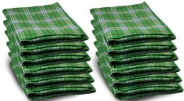 12 Units of Yacht & Smith 50x60 Warm Fleece Blanket, Soft Warm Compact Travel Blanket Green Plaid - Fleece & Sherpa Blankets