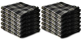 12 Units of Yacht & Smith 50x60 Warm Fleece Blanket, Soft Warm Compact Travel Blanket Black Plaid - Fleece & Sherpa Blankets