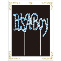 36 Units of Its A Boy Rhinestone Cake Topper - Birthday Candles