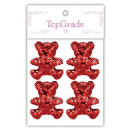 96 Units of Sequin Bear In Red - Craft Beads