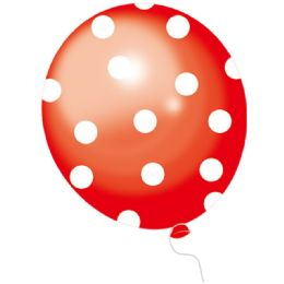 36 Units of Polka Dot Red Balloons 50 Count - Balloons & Balloon Holder