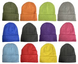 36 Units of Yacht & Smith Unisex Stretch Colorful Winter Warm Knit Beanie Hats, Many Colors - Winter Beanie Hats