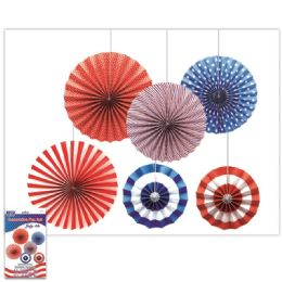 24 Units of July Fourth Fan Decoration Set - 4th Of July