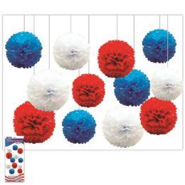 24 Units of July 4th Pom Pom Flower Set - 4th Of July
