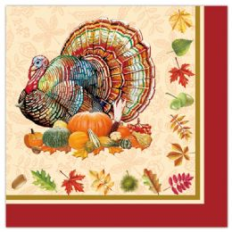96 Units of 24 Count Thanksgiving Napkin - Halloween & Thanksgiving