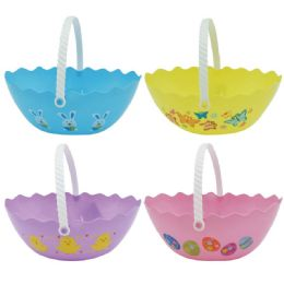 72 Units of Oval Plastic Easter Bucket In Mixed Color - Easter