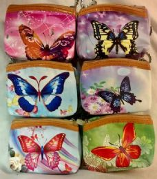 60 Units of Coin purse with Zipper assorted butterfly design - Coin Holders & Banks