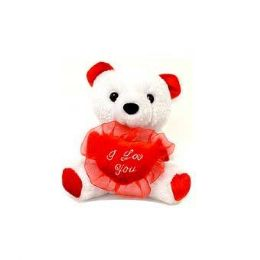 24 Units of 6.5 Inch Valentine White Plush Bear - Valentine Decorations