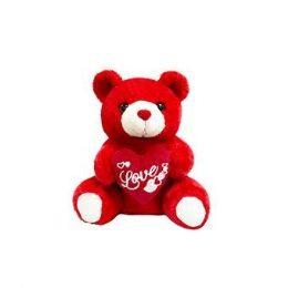 24 Units of 9 Inch Valentine Red Plush Bear With Heart - Valentine Decorations
