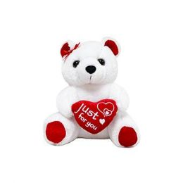 24 Units of 9 Inch Valentine White Plush Bear With Heart - Valentine Decorations