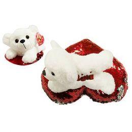 24 Units of 8 Inch Valentine White Plush Puppy - Valentine Decorations