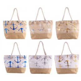 "24 Units of 20"" Large Beach Bulk Tote Bags in 6 Assorted Colors - Tote Bags & Slings"