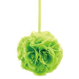 24 Units of Eight Inch Pom Flower In Lime - Artificial Flowers
