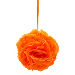 24 Units of Eight Inch Pom Flower In Orange - Artificial Flowers