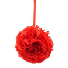 24 Units of Eight Inch Pom Flower In Red - Artificial Flowers
