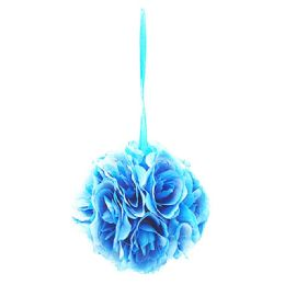 24 Units of Eight Inch Pom Flower In Teal Blue - Artificial Flowers