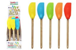 24 Units of BAMBOO HANDLE SILICONE SPATULA WITH HANGER - Kitchen Gadgets & Tools
