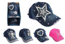 12 Units of Rhinestone Bling Cap - Baseball Caps & Snap Backs