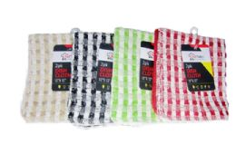 24 Units of Checkered Dish Cloth 2 Pack - Kitchen Towels