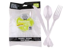 24 Units of Clear Cutlery 48 Pack - Plastic Serving Ware
