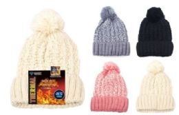 12 Units of Knit Thermal Furry Fleece Hat - Winter Beanie Hats