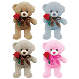 24 Units of Valentine Plush Bear With Rose Assorted - Valentines